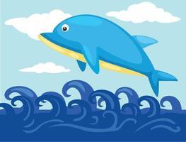 ilustração de um golfinho pulando vetor