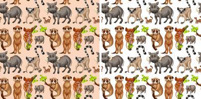 Plano de fundo sem emenda com animais selvagens vetor