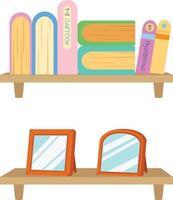 estante com ilustração de livros vetor