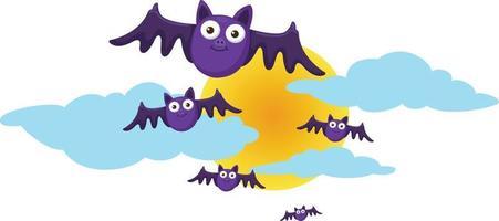 lua de halloween e morcegos. ilustração vetor