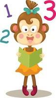 ilustração de macaco lendo um livro vetor