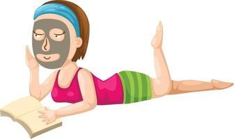 ilustração de uma menina lendo um livro vetor