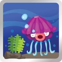 ilustração de um fundo subaquático de água-viva vetor