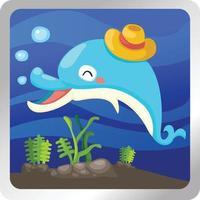 ilustração de um fundo subaquático de golfinho isolado vetor