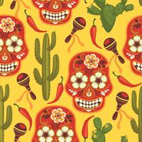 Padrão sem emenda de vetor com símbolos tradicionais mexicanos.
