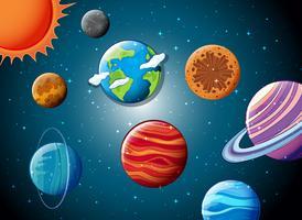 Sistema solar no espaço vetor