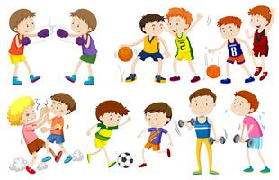 Jogo, de, meninos, fazendo, atividades vetor