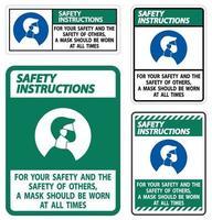 instruções de segurança para sua segurança e máscara de outros em todos os momentos vetor