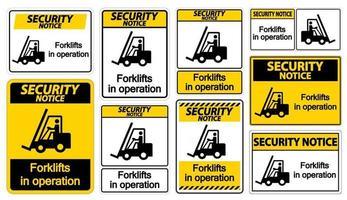 aviso de segurança empilhadeiras em símbolo de operação vetor