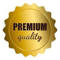 selo dourado com texto de qualidade premium vetor