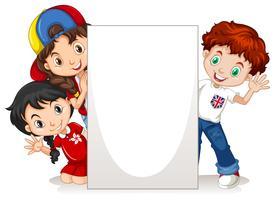 Crianças, atrás de, a, em branco, sinal vetor