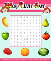 Jogo de quebra-cabeça do Word com tema de frutas vetor
