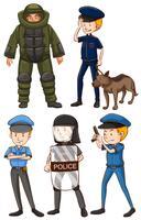 Policial em uniformes diferentes vetor