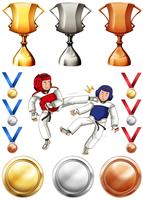 Taekwondo e muitos troféus e medalhas vetor