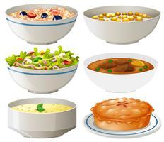 Conjunto de pratos diferentes vetor