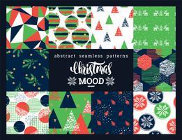 Natal e ano novo conjunto. Abstratos geométricos e ornamentais padrões sem emenda.