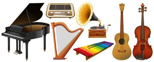 Diferentes tipos de instrumentos de música clássica vetor