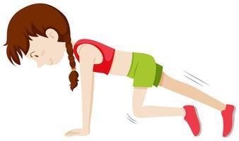 Garota fazendo exercício de perna vetor