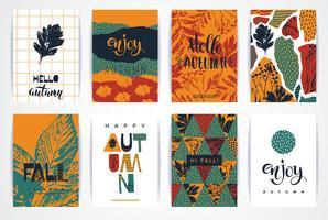 Conjunto de artísticos criativos cartões de outono. vetor