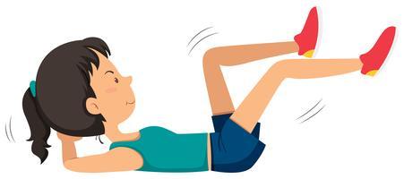 Menina, fazendo, ab, bicicleta, exercício