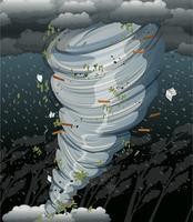 Um redemoinho de ciclone na tempestade escura vetor