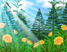 Luz do sol sobre a floresta de flores vetor