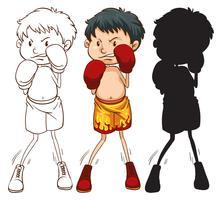 Três, diferente, esboços, de, um, boxer vetor