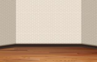 Parede de tijolos e piso de madeira