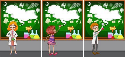 Professores de ciências na sala de aula vetor