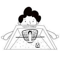 o menino joga futebol de mesa. futebol de mesa. cartaz para futebol de mesa. vetor