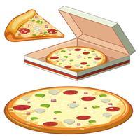 Um conjunto de pizza no fundo branco vetor