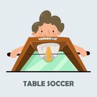 futebol de mesa. cartaz para futebol de mesa. o menino joga futebol de mesa. vetor