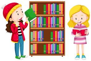 Duas meninas na biblioteca vetor
