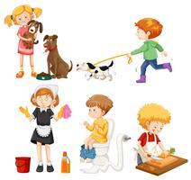 Um conjunto de atividades domésticas vetor