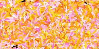 pano de fundo vector rosa e amarelo escuro com linhas, triângulos.