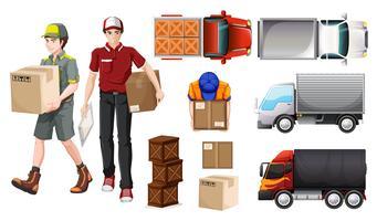 Entregando serviço com entregador e caminhões vetor