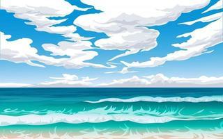paisagem litorânea com céu nublado vetor