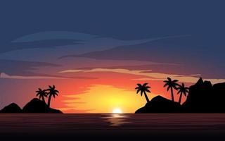 paisagem do pôr do sol da ilha com palmeiras vetor