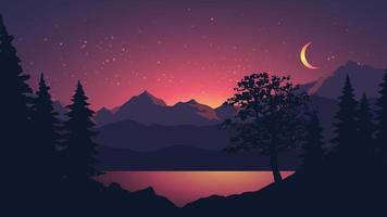 bela paisagem noturna com montanha e lago vetor