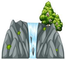 Cena de cachoeira com árvore na rocha vetor