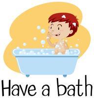 Um menino tomando banho vetor