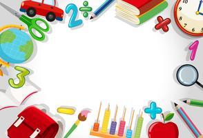 Uma fronteira de papelaria escolar vetor