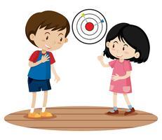 Crianças jogando jogo de dardo vetor