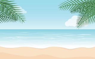 férias de verão e praia com fundo de folhas de palmeira vetor