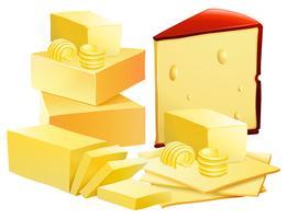 Um conjunto de queijo no fundo branco vetor