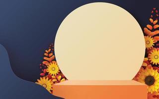 Produtos de pódio 3D com formas geométricas, feriado de outono vetor