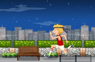 Um homem treinando para a maratona à noite vetor