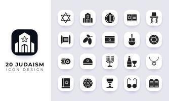 pacote de ícones do judaísmo plano mínimo. vetor