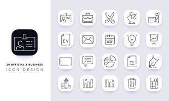 arte de linha incompleta oficial e pacote de ícones de negócios. vetor
