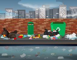 Lixo na paisagem urbana vetor